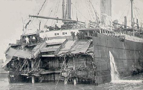 Suevic's stern after being separated from her bow